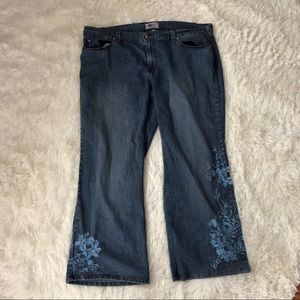 Avenue flare embroidered jeans sz 24